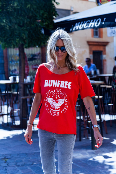 TEESHIRT GM RUNFREE ROUGE