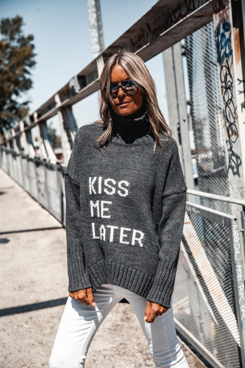 PULL GM KISS ME col roule ANTHRACITE